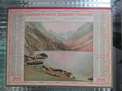 CALENDRIER ALMANACH DES POSTES TELEGRAPHES TELEPHONES 1948 ANNEE BISSEXTILE LAC MONTAGNE - Grand Format : 1941-60