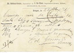 Entier Postal Lion Couché BRUGES 1876 Vers LIEGE Repiquage Ed. GEUENS-SEAUX Suc. De C. DE MOOR  Drukker-boekhandelaar - Enteros Postales