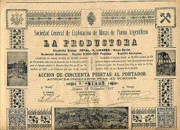 EXPLOTACION DE MINAS DE PLOM ARGENTIFERO LA PRODUCTORA 1907 - Mines