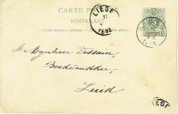 Entier Postal Lion Couché  ROULERS 1895 Vers LIEGE Signé Sylvie STOCK Pour STOCK SOEURS ROUSSELARE - Enteros Postales