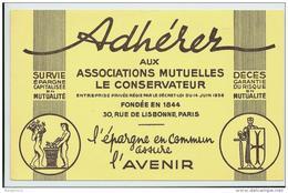 Buvard - Adhérer Aux Associations Mutuelles Le Conservateur -  L'epargne En Commun Assure L'avenir - Bank & Insurance