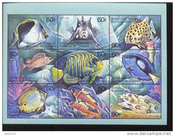 COMORES   875  MINT NEVER HINGED MINI SHEET OF FISH-MARINE LIFE - Fische