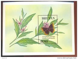 MINT NEVER HINGED SOUVENIR SHEET OF BUTTERFLIES  CAMBERWELL BEAUTY (  BHUTAN  837 - Butterflies