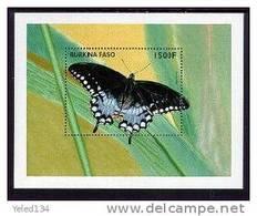 BURKINA FASO  1112  MINT NEVER HINGED SOUVENIR SHEET OF BUTTERFLIES - Vlinders