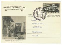 Suisse // Schweiz // Switzerland //  Entiers Postaux  // Entier Postal 100 Ans Des Chemins De Fer 1847-1947 - Entiers Postaux