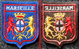 Patch Écusson Tissu Touristique - Bouches Du Rhône - Marseille - Blason Lion Et Taureau - Ecussons Tissu