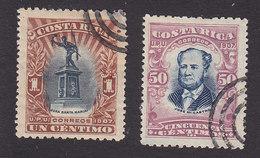 Costa Rica, Scott #59, 66, Used, Statue Of Juan Santamaria, Jose Castro, Issued 1907 - Costa Rica