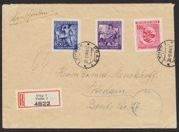 """"""" Richard Wagner"""", Satz- R- Brief """"Prag"""", 17.9.43, Mi- Nr. 128/30 - Böhmen Und Mähren"""