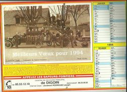 Calendrier Des  Sapeurs'Pompiers G-F  1994  De DIGOIN Saone Et Loire 71_(Fete Des Jeunes Pompiers) - Big : 1991-00