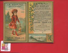 LYON LE KOULAO  POTAGE SANTIARD FERRAND CALENDRIER CHROMO DORÉ NON PLIÉ 1887 - Calendriers