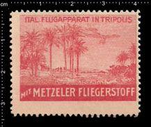 German Poster Stamps, Reklamemarke, Cinderellas, Metzeler, Fliegerstoff, Aviator Material, Airplane, Flugzeug, Tripoli - Aerei