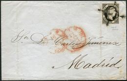 1851 Enero. Envuelta De Cádiz A Madrid, 2 Fechadores Tipo Baeza De Cádiz - Cartas