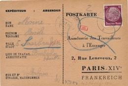 Carte Saarbrücken WWII Censure - Allemagne