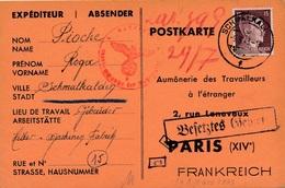 Carte Schmalkalden WWII Censure Zone Occupée - Allemagne