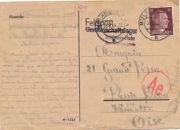 Carte Camp En Communauté à Mulhein-Ruhr Contrôle L'abwehr De Francfort WWII - Covers & Documents