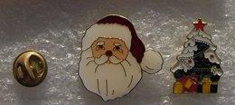 PERE NOEL ET ARBRE DE NOEL 2 PIN'S          CCCC  040 - Christmas