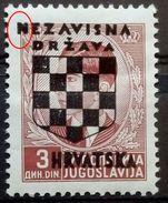 COAT OF ARMS-ADLER-NDH OVERPRINT-3 D-ERROR-DOT-CROATIA-1941 - Croatia