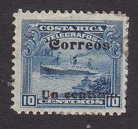 Costa Rica, Scott #87, Mint No Gum, Telegraph Stamp Surcharged, Issued 1911 - Costa Rica
