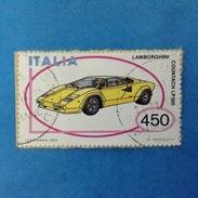 1985 ITALIA FRANCOBOLLO USATO STAMP USED - AUTOMOBILI AUTO LAMBORGHINI - 6. 1946-.. Repubblica