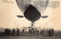 La Nacelle Du Dirigeable Militaire 'La République' Qui Prit Part Aux Grandes Manoeuvres Du Bourbonnais   -  CPA - Zeppeline