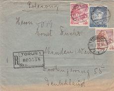 Pologne Lettre Recommandée Torun Pour L'Allemagne 1939 - Briefe U. Dokumente