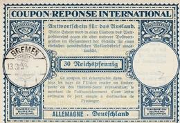 Coupon-réponse Allemagne 30 Reichspfennig - Bremen 1939 - Type Lo 12  - Vale-respuesta CRI IRC IAS - Germany