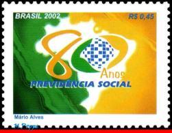 Ref. BR-2866 BRAZIL 2002 - MAPS, SOCIAL SECURITY,, 80TH ANNIV., MI# 3284, MNH,1V Sc# 2866 - Médecine