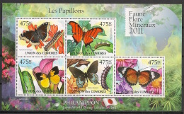 Comores - 2011 - N°Yv. 2130 à 2134 - Papillons - Neuf Luxe ** / MNH / Postfrisch - Schmetterlinge