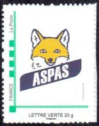 Timbre Personnalisé Phil@poste Cadre Vert - Logo Aspas (renard) Modifié - édition 2017 - Lettre Verte - France