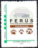 Timbre Personnalisé Logo Ferus Et Empreintes Ours Loup Lynx - édition 2016 - Lettre Verte - France