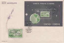 Enveloppe  FDC   1er  Jour  CUBA    Bloc  FEUILLET   Fusée  Postale  1964 - FDC