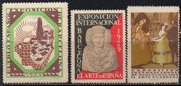 ERINNOPHILIE - ESPAGNE - BARCELONA / 1929 - 3 VIGNETTES ILLUSTREES EXPOSITION INTERNATIONALE  (ref T1792) - Vignetten (Erinnophilie)