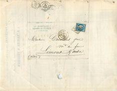 LETTRE Cérès 20c Bleu émission De Bordeaux De Marsielle à Limoux Ambulant 1870 2 Scans - 1849-1876: Classic Period