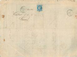 LETTRE Cérès 20c Bleu émission De Bordeaux De Carcassonne  à Limoux  1870 2 Scans - 1849-1876: Classic Period
