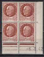 FRANCE 1941 - BLOC DE 4 TP Y.T. N° 517 - COIN DATE NEUFS** / X25 - 1940-1949