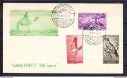 SAHARA ESPAÑOL 1958..SOBRE   PRIMER DIA.FDC SERIE  DE PAJAROS CANTORES   .CECI 1 Nº 377 - Pájaros Cantores (Passeri)