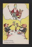 1950sORIGINAL COMIC ART POSTCARD HUMOR FRANCE FAT MENS & ST NICHOLAS & Donkey Z1 - Comics