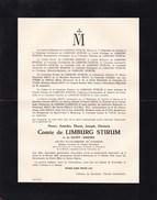 RUMBEKE Burgemeester Henri Comte De LIMBURG STIRUM Gand 1864 Rumbeke 1953 - Décès