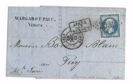 RARE - 14B Sur LSC - Oblitéré GROS CHIFFRE 2659 De Nîmes Du 19/12/62 - 1ère Date Connue GC - 1853-1860 Napoléon III