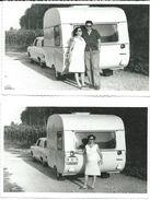 2 Photo Cards Opel And Trailor ADRIA. Camping.photo Slovenia 1967.license Plate( TV - Titov Veles,Macedonia,Yugoslavia ) - Camping