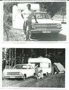 2 Photo Cards Opel And Trailor ADRIA. Camping.photo Austria 1967.license Plate( TV - Titov Veles,Macedonia,Yugoslavia ) - Camping