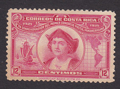 Costa Rica, Scott #124, Mint Hinged, Christopher Columbus, Issued 1923 - Costa Rica