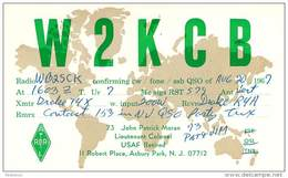 Amateur Radio QSL - W2KCB - Asbury Park, NJ -USA- 1967 - 2 Scans - Radio Amateur