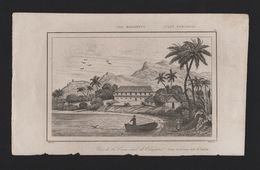RARE MARIANA ISLANDS  XIX CENTURY ANTIQUE ORIGINAL PRINT Casa Real De Umata - Postcards