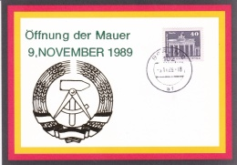DDR Card 9.11.1989 Öffnung Der Mauer (DD10-7) - DDR