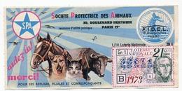 LOTERIE NATIONALE - 1/10eme Société Protectrice Des Animaux - F.I.D.E.L - 21eme Tranche 1973 - Billets De Loterie