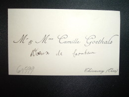 CARTE DE VISITE CAMILLE GOETHALS à THIVERNY (OISE) - Cartes De Visite