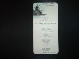 MENU HOTEL RESTAURANT DENIAU à MONTATAIRE (OISE) 29 MARS 1932 MARIAGE LEO BALLIN Et IRENE VANDENBERGH - Menus