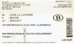 Billet SNCB Spécial Carnaval De Binche 2017 (Délivré à La Louvière Le 28/02/2017) - Chemins De Fer