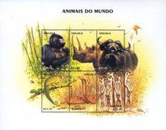 Angola 2000, Animals, Monkey, Rhino, Snake, Cmaleont, 6val In BF - Rhinozerosse